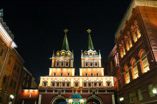 Iberian Gate at night, Moscow モスクワ、ヴァスクレセンスキー門