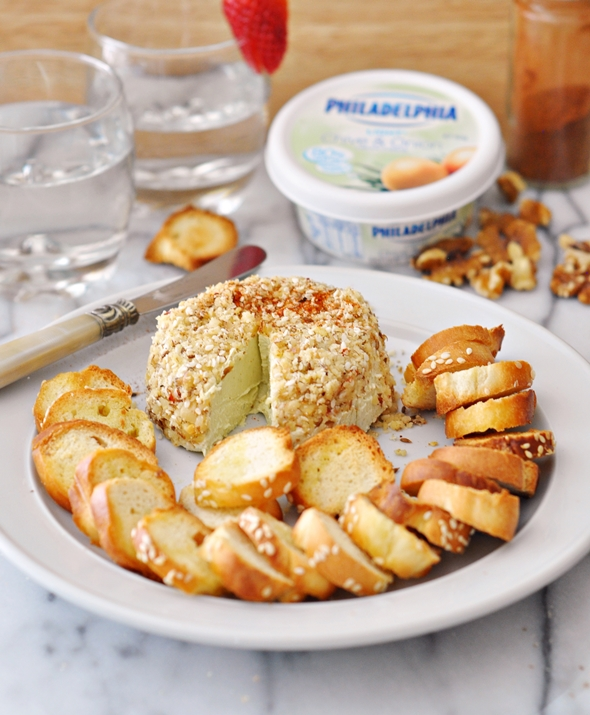 Chickpea & Polenta Cracker & Bagel Chips Recipes {Quick Party Nibbles Ideas with Philadelphia Cream Cheese} | www.fussfreecooking.com