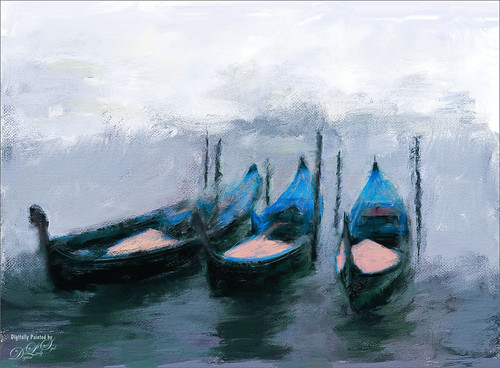 Painted image of some gondolas