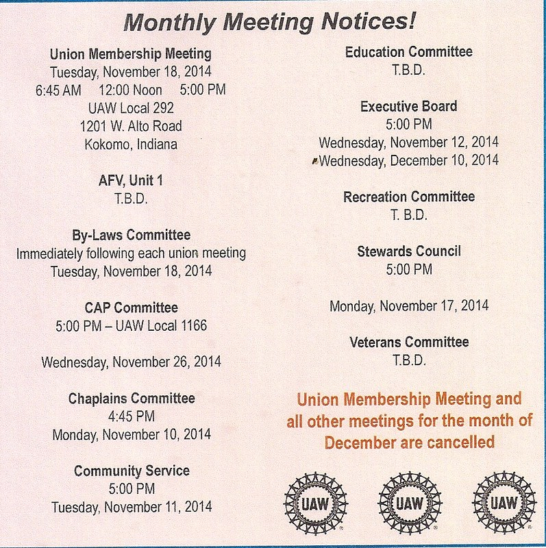 November and Decemeber Union Meetings 20140001