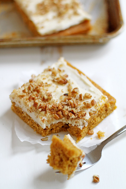 Butternut-Pumpkin Spice Sheet Cake with Bourbon-Vanilla Cream Cheese Frosting | girlversusdough.com @stephmwise