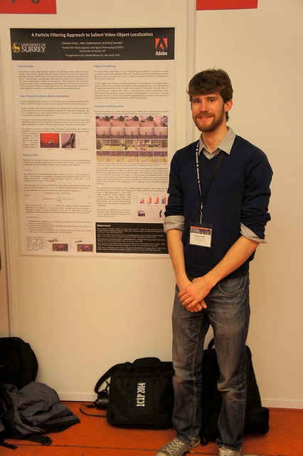 "My poster on ""Particle Filtering Approach to Video Object Localisation"" at ICIP 2014"