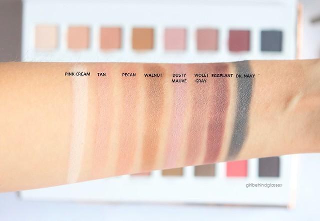 Lorac Mega Pro 3 Palette matte shades swatches row1
