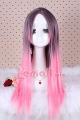 70cm Charm Zipper straight Mix magenta Anime Cosplay wig ZY23