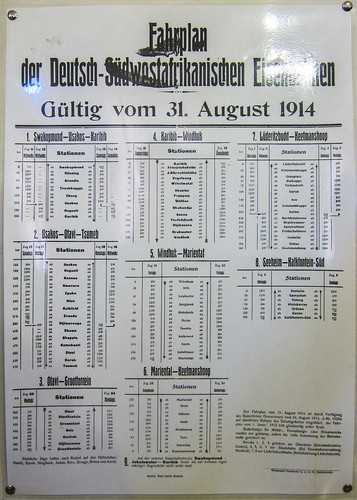 Fahrplan, train schedules in Namibia in 1914. Windhoek railway museum