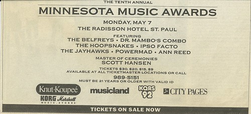 05/07/90 Minnesota Mucis Awards 1990 @ The Radisson Hotel, St. Paul, MN (Ad Bottom)