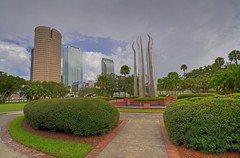 Tampa skyline from Henry Plant Park