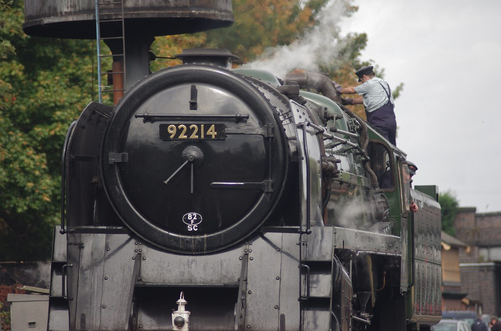 92214, BR 9F taking on water at Loughborough, 3rd October 2014