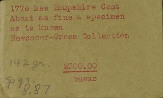 New Hampshire copper envelope