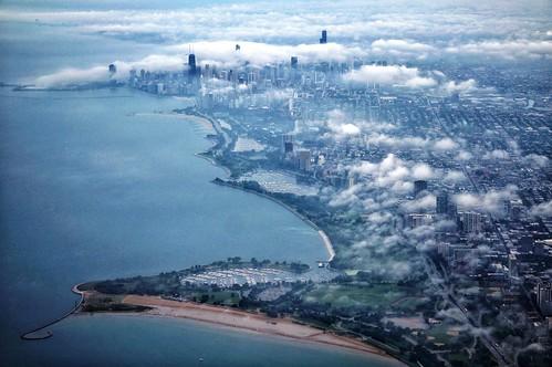 chicago window fog skyline clouds airplane
