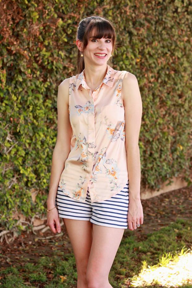 floral shirt, striped shorts, mixed prints