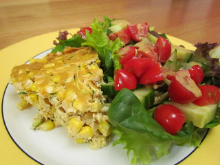 Fresh Corn and Zucchini Frittata; Goddess Mint Dressing