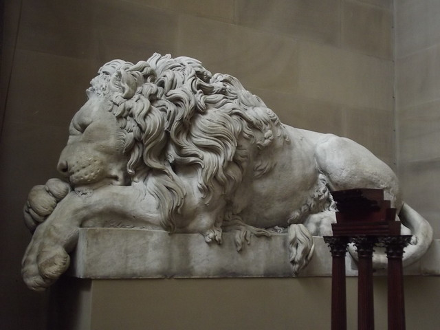 Inside Chatsworth House Sculpture Gallery Stone Lion