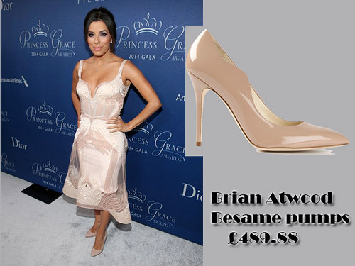 Eva Longoria in nude Brian Atwood Besame pumps & a plunging neckline powder pink dress