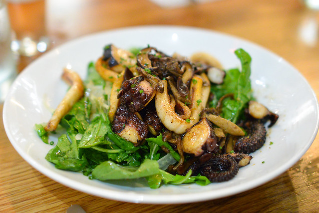 Grilled Octopus & Calamari. arugula. mushrooms. fennel. aged balsamic. chili lemon vinaigrette.