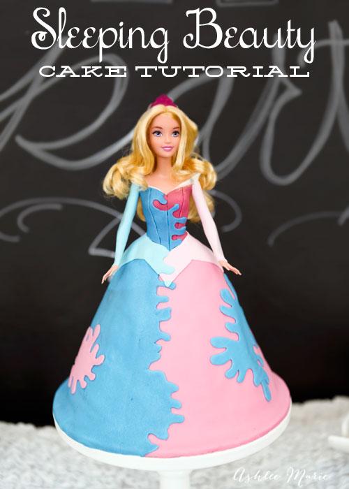 full tutorial for a disney princess sleeping beauty birthday cake