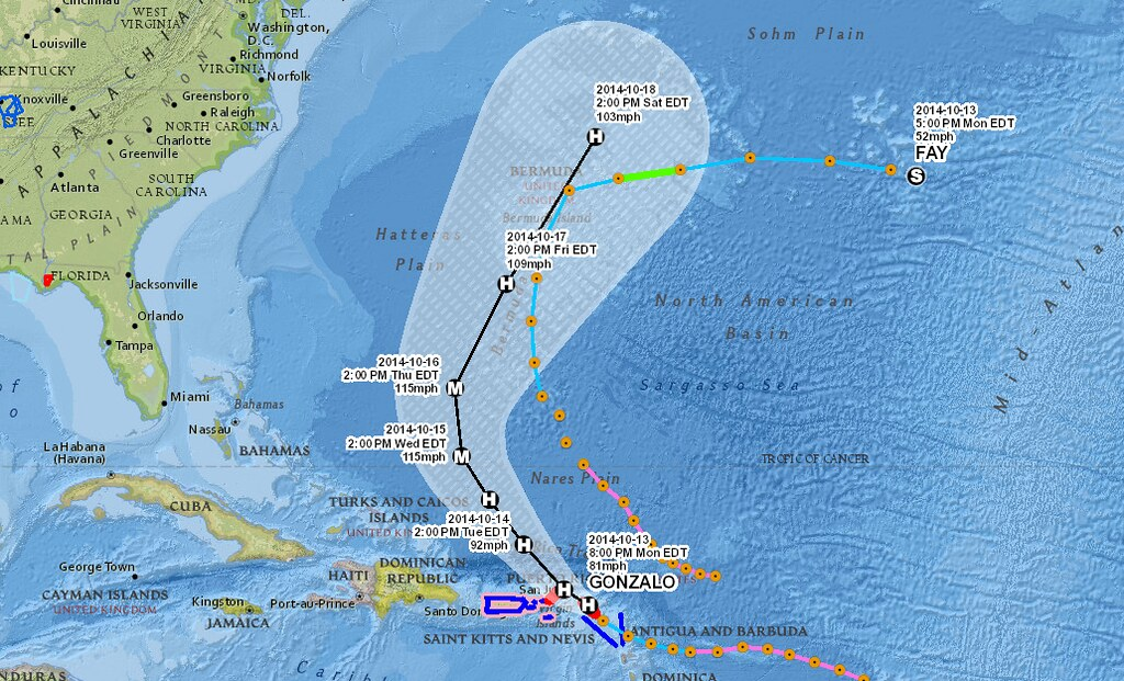 Hurricane Gonzalo Forecast Map