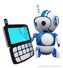 3d Cute Blue Robot with PDA