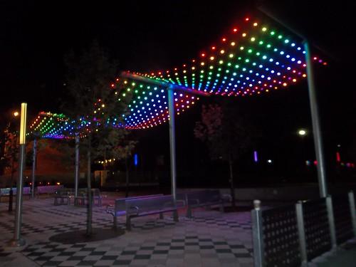 A rainbow of lights at Barbara Hall Park