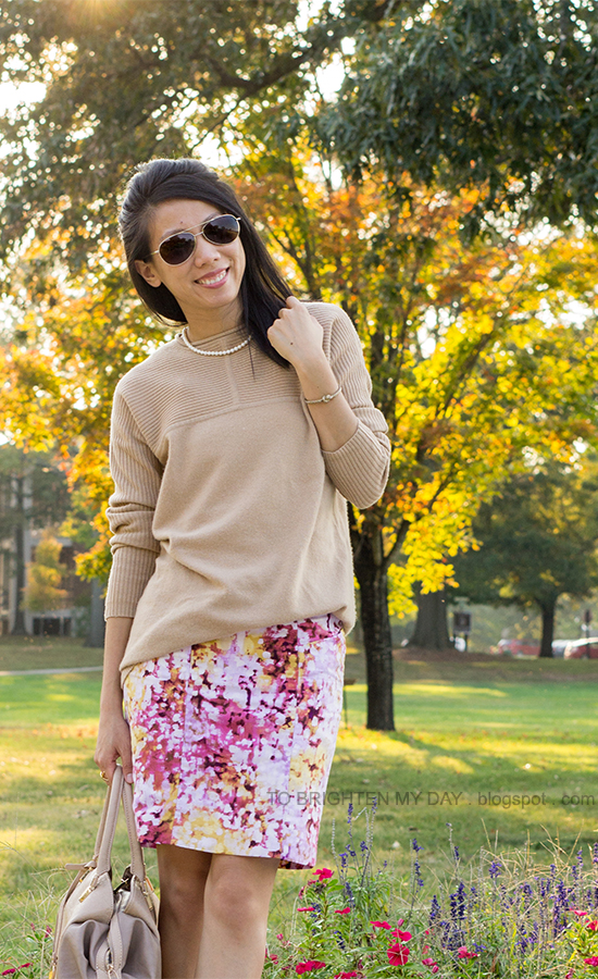 camel sweater, floral printed skirt