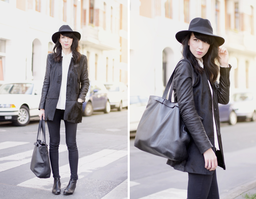 Muubaa coat black hat ootd outfit fall autumn styling dark cool city look cats & dogs ricarda schernus 5