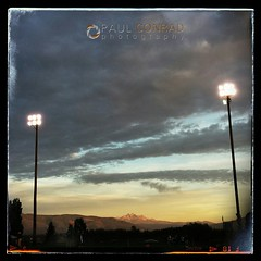 The #settingsun lights the Twin Sisters in #alpenglow as the #lyndenlions prepare to battle the #sehomemariners in #highschool #football   #fridaynightlights #prepsports