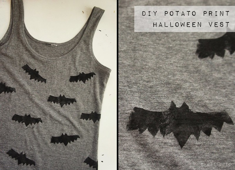 diy halloween print bat vest
