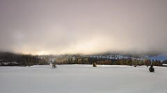 Misty sunrise over a pristine carpet of fresh snow