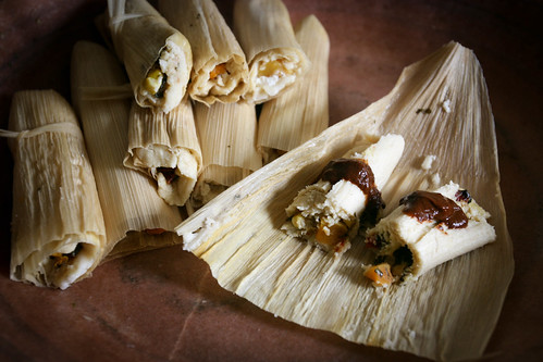 Roast Butternut Tamales with Mole Poblano