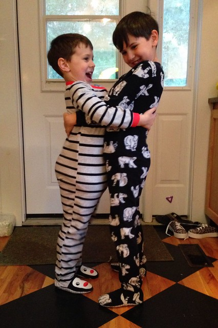 They are always so excited about footed pajamas