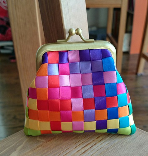 Rainbow Ribbon Metal Frame Purse