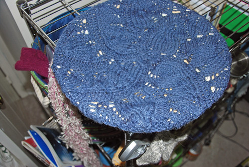 Irieknit handspun Columbia wool knitted Pinion Tam blocking