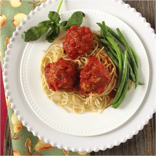 A family dinner recipe for Garden Turkey Meatballs and Spaghetti