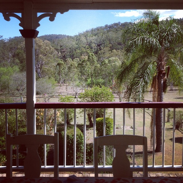 View from the veranda of the ancient Queenslander we're staying in this weekend. #countrywedding