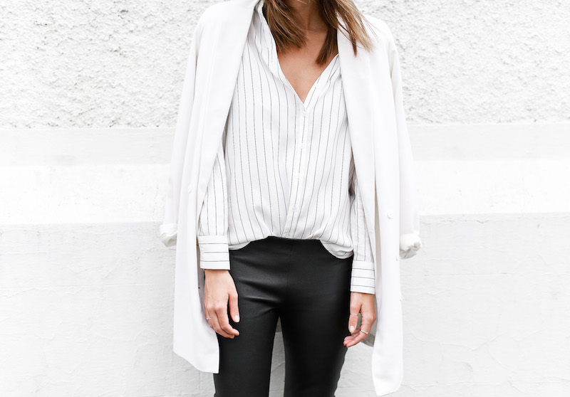 MODERN LEGACY fashion blog pinstripe shirt leather leggings Helmut Lang oxfords Alexander Wang bag black and white street style (4 of 6)