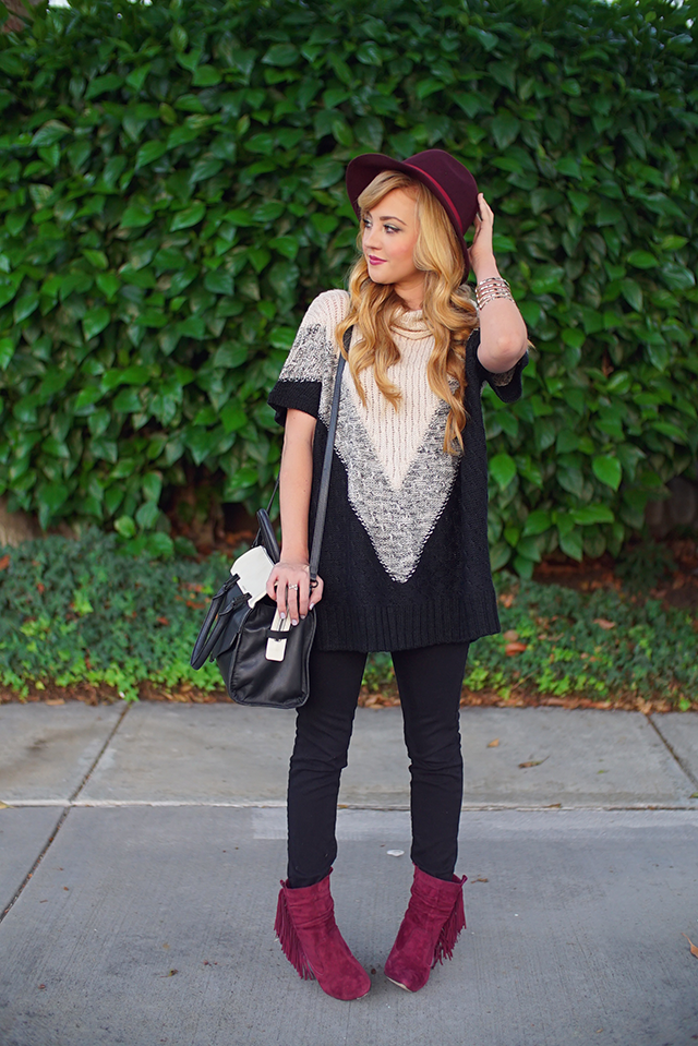 chunky sweater and fedora hat for fall fashion