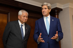U.S. Secretary of State John Kerry answers a reporter's questions before a bilateral meeting with Foreign Minister Albert del Rosario of the Philippines after both attended the inauguration ceremonies for Indonesian President Joko Widodo in Jakarta, Indonesia, on October 20, 2014. [State Department photo/ Public Domain]