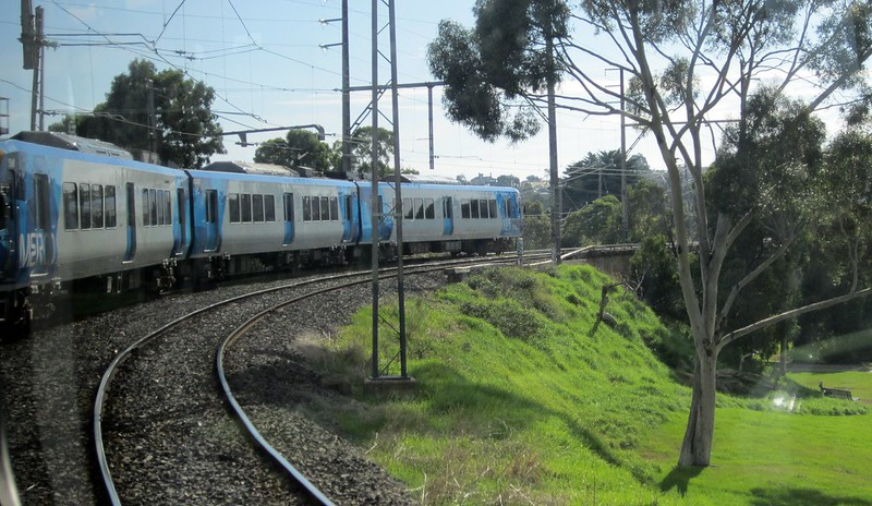 X'trapolis train, South Morang line near Merri