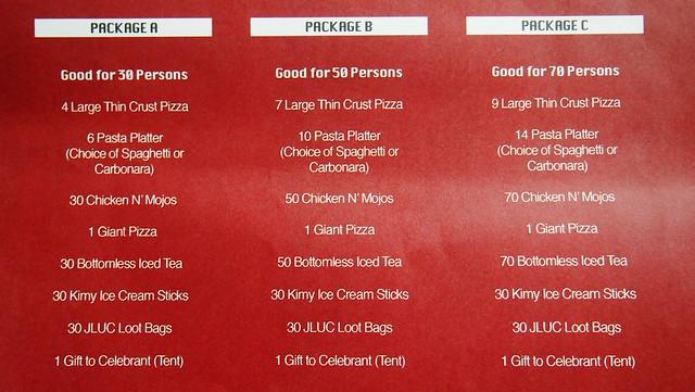 Shakeys party package menu - Putt putt golf glow in the dark