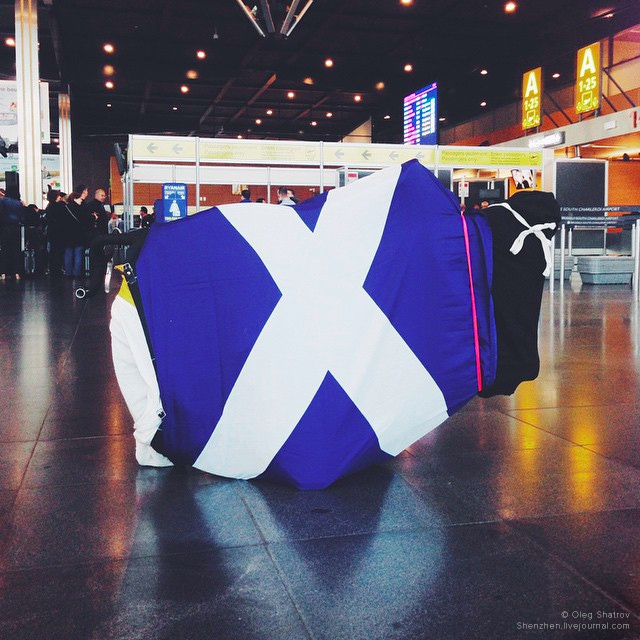 Wrapped in saltire crossbike in Brussels Airport