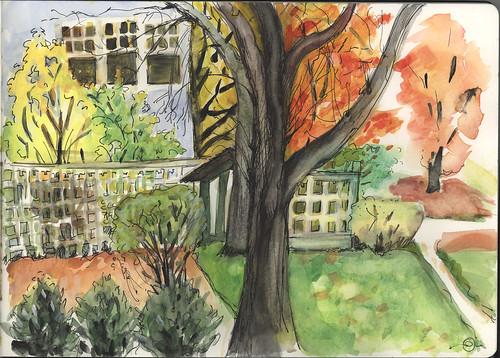 autumn urbanlandscape cedarfallsiowa watercolorink moleskinewatercolorsketchbook marciamilnerbrage