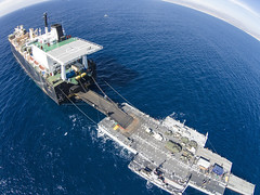 Humanitarian assistance and disaster relief equipment and supplies are offloaded from USNS PFC Dewayne T. Williams (T-AK 3009) during exercise Pacific Horizon. (U.S. Navy/MCSN Jonathan Nelson)