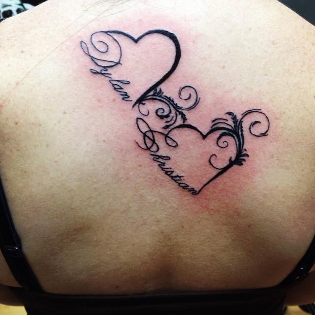 Tattoo Ideas Kids Names: Children's Names In Hearts. #tattoo #tattoos #heart