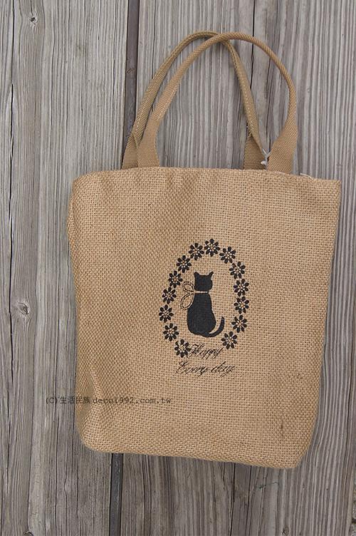 手提袋包— 乡村风黑猫剪影黄麻拉鍊手提包手提袋托特包 自然风素材