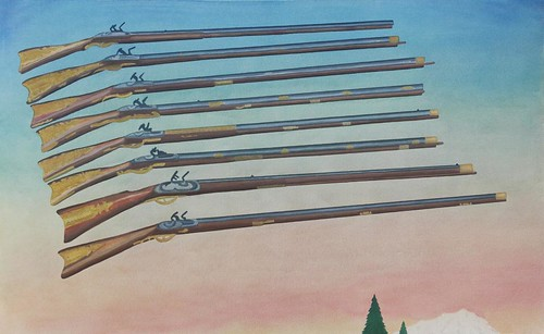 Aaron Morse, Early America Firearms, 2002:2014, acrylic and oil on canvas