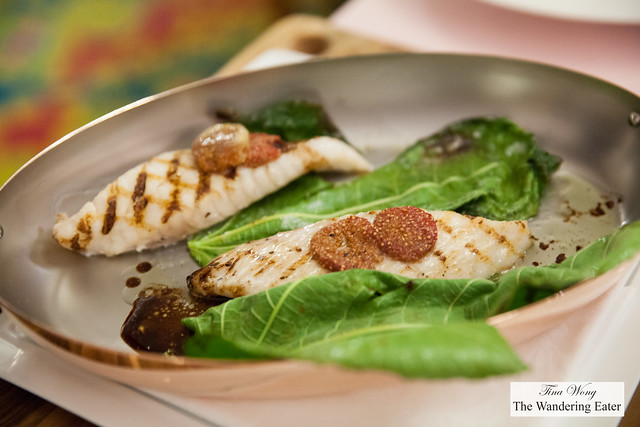 Grilled John Dory fillet with fig leaves, balsamic vinegar sauce, roasted figs