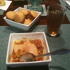 eating tamale pie at mom and pop's #omnomnom