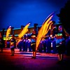 The Nashville Community High School Marching Hornets Color Guards' gold flags turn into fiery streaks at twilight before the football game Friday. #nashvilleil #washingtoncountyil #livemusic #nchs #marchingband #nchs #nashvillecommunityhighschool #nashvil