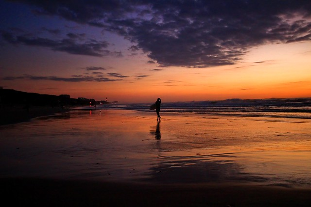 coming back from the sea at sunset - Tel-Aviv beach