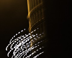 Light pole with Christmas lights, on Platte west of Sherman, Fort Morgan, Colorado. - PLDL8014-Edit